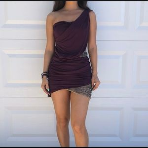 Purple Caribbean Queen Ribbed Sequence Dress